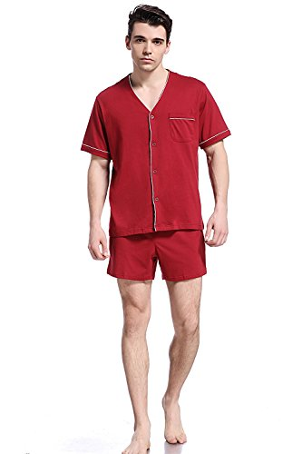 Button Down Woven Shorts - Like2sea Cotton Pajamas for Men, Short V-Neck Button Down Woven PJ Set, WineRed, M