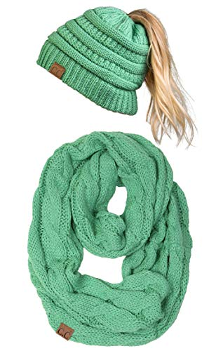 Foam Knit Glove - cBT-6020a-62 Messy Bun Beanie Tail Matching Scarf Bundle Set - Seafoam (Solid)