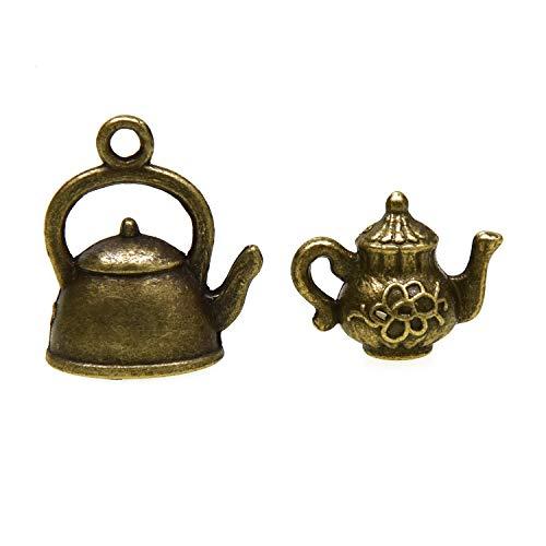 Monrocco 60 pcs Teapot Charms Teapot Cup Teacup Pendants for DIY Craft
