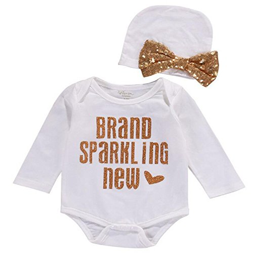 FIZUOXVE Newborn Girl's Toddler Spakrling Letter Print Cute Bodysuit Romper Onesie Clothes Outfit Gold 0-6 Months by FIZUOXVE
