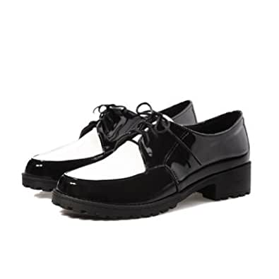 Charm Foot Fashion Womens Low Heel Lace up Casual Oxfords Shoes (9, Black)
