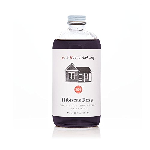 Pink House Alchemy Hibiscus Rose - Simple Syrup 16 oz Cocktail Drink Mix - Use to Flavor Coffee - Hawaiian Shaved Ice - Dessert Topping - Using Only Fresh Flowers - Free Book See Package (HR 16)