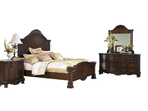 Ashley North Shore 4PC Bedroom Set E King Panel Bed Dresser Mirror One Nightstand in Dark Brown