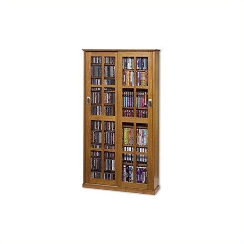Cd / Dvd Glass Door (Leslie Dame MS-700 Mission Multimedia DVD/CD Storage Cabinet with Sliding Glass Doors,)