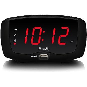 Dreamsky Digital Alarm Clock Radio With Fm Radio Dual Usb Ports For Charging