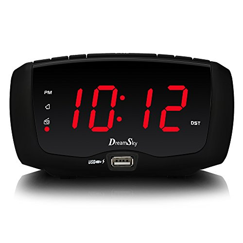 DreamSky Digital Alarm Clock Radio, FM Radio, 1.4 Inches Large Red LED Number Display, Dual USB Charging Ports, 3.5 mm Headphone Jack, Snooze, DST, Sleep Timer