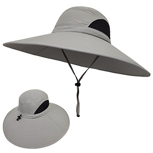 LETHMIK Wide Brim Boonie Hat,Waterproof Sun Protection Outdoor Oversized Brim Hat for Men&Women,for Fishing,Hiking,Camping,Boating & Safari Light Grey -