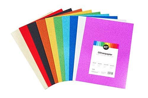 in cartoncino da disegno per bricolage 160 g//m2 per bricolage e bricolage formato A4 10 colori assortiti perfect ideaz Set di 30 fogli di carta glitterata colorata colori assortiti