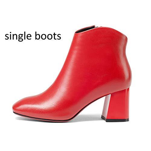 0700938b613 Yan Negro Re Rojo Invierno Cm Para Cuero 5 Ásperos Con Genuino Otoño  Zapatos Cremallera Botines Tacones 6 De Mujer fUfCn4wgqr
