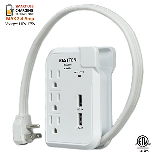 Bestten 3 Outlet Portable Travel Surge Protector with 2.4A Dual USB Charging Ports, 18in Cord