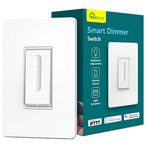 Smart Dimmer Switch, Treatlife WiFi Light Switch for Dimmable LED/Halogen/Incandescent Bulbs, Compatible with Alexa, Google Assistant/IFTTT, Remote Control, Single-Pole, Neutral Wire Required ()