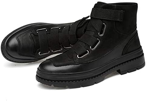 JIWEIER Winter Stiefel der Männer, Männer Stiefeletten beiläufige Art und Weise Stitching OX Leder Set Fuß Anti-Rutsch-Sohle Stiefel (Warm Hook & LoopStrap Optional)