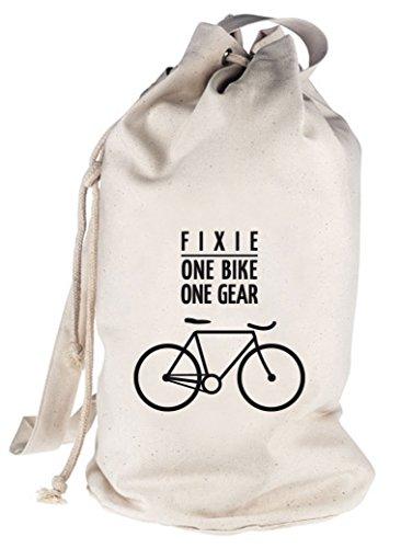 Fixie - One Bike, Singlespeed Fahrrad bedruckter Seesack Umhängetasche Schultertasche Beutel Bag, Größe: onesize,natur
