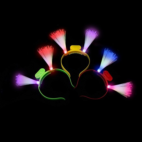 Fun Central I510 LED Light Up Fiber Optic Headbands - Assorted - 12 Pieces