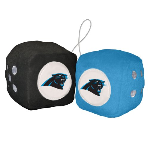 NFL Carolina Panthers Fuzzy Dice,one black, one lt. blue w/ logo,3