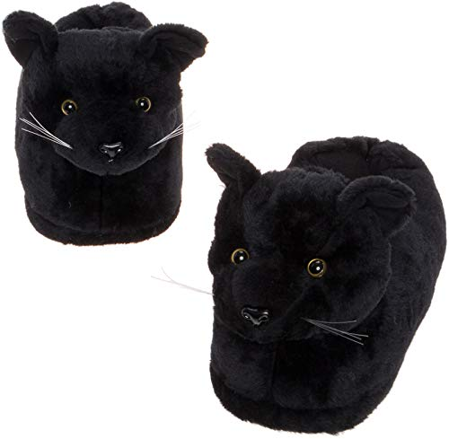 Silver Lilly Black Cat Slippers - Plush Novelty Animal Costume House Shoes w/Comfort Foam (L) -