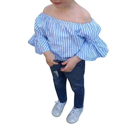 CSSD Toddler Baby Girl {Off Shoulder} {Stripe Print} T-Shirt Top+Casual Jeans Pants Outfit Clothes Set (2T, (Stripes Toddler Doll)