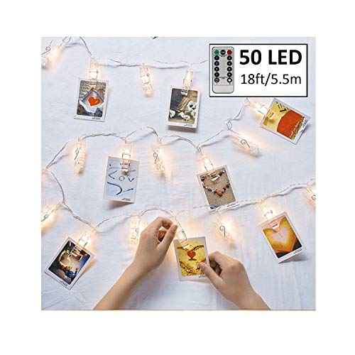 Makadami Clip String Lights - 50 LED Photo String Lights with Clips - Dorm Room Decorations - Led Photo Clips - Bedroom Lights String - Dorm Room Lights - Photo Clip Lights - Led Clip String Lights