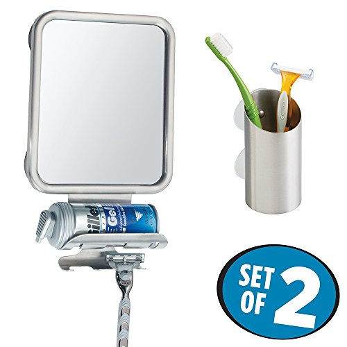 Price comparison product image mDesign Suction Fog Free Shower Shaving Mirror with Toothbrush / Razor Holder Cup - 2 pc Set,  Brushed Stainless Steel