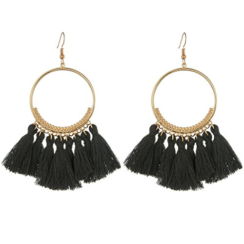 CCOHO Fashion Tassel Hoop Earrings Dangle with Fish Hook Fringe Thread Earring for Women's Wedding, Party, Black (Black Earring Fish)
