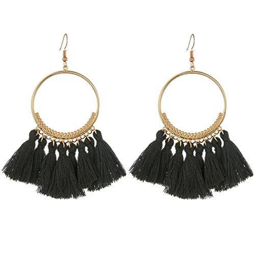 CCOHO Fashion Tassel Hoop Earrings Dangle with Fish Hook Fringe Thread Earring for Women's Wedding, Party, Black (Earring Black Fish)