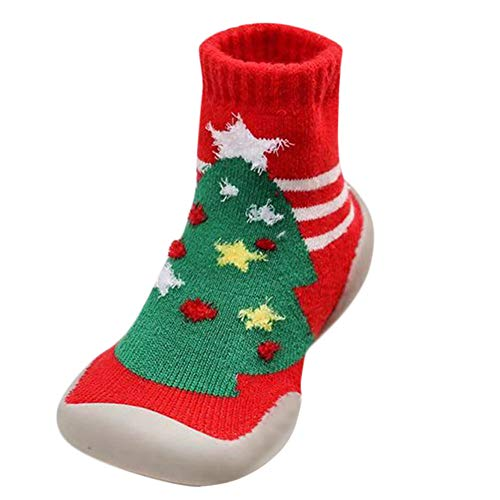 Inkach Toddler Baby Anti-Slip Slipper Floor Socks Christmas Gift Soft Bottom Winter Knit Non-Slip Booties Shoes (Age2.5-3Years/Label Size:25, Green)