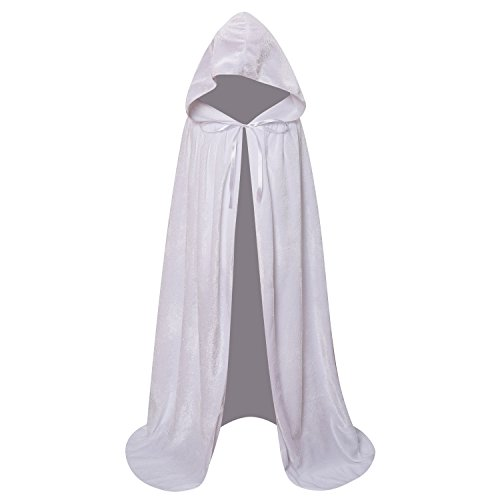 Makroyl Kids Velvet Cloak Cape with Hooded for Halloween Christmas Cosplay Costumes (M, White) -