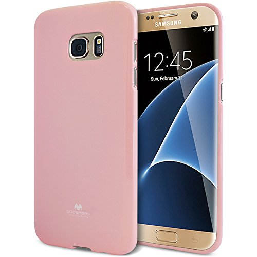 Galaxy S7 Edge Case, [Thin Slim] GOOSPERY [Flexible] Pearl Jelly Rubber TPU Case [Lightweight] Bumper Cover [Impact Resistant] for Samsung Galaxy S7 Edge (Pink) S7E-JEL-PNK
