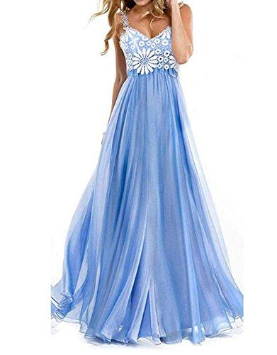 Zeagoo Femme Floral Bleu Dentelle Robe de Soirée Demoiselle d'honneur Maxi Longue Robe