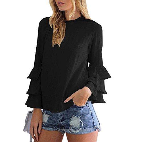Jushye Hot Sale! Women Layered Bell Sleeve Blouse, Ladies Fashion Loose Casual Folding Sleeves Long Sleeve Blouse Tops (XL, Black)