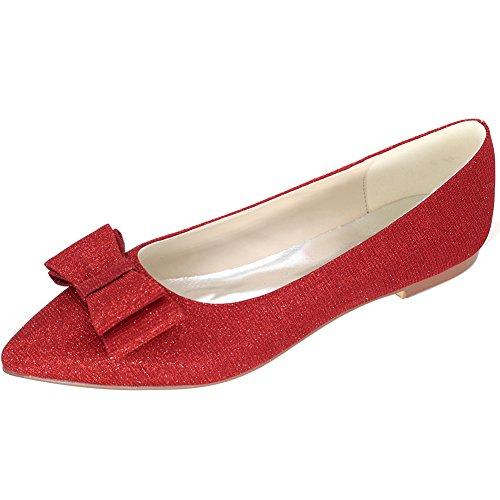 Loslandifen Mujeres Elegant Glitter Pionted Toe Boda Ballet Pisos Zapatos De Vestir (2046-09c40, Rojo)