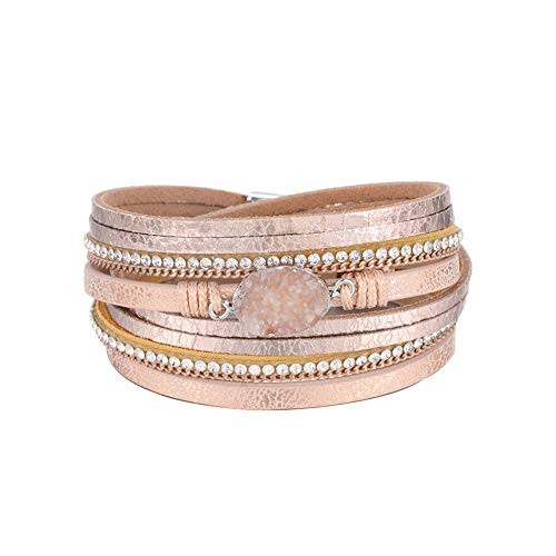 Multilayer Leather Bracelet Handmade Crystal Wrap Bangle with Magnetic Clasp Leather Wrap Bracelet Bohemian Jewelry Gift for Women and Girl (Khaki Leather&Natural Stone)
