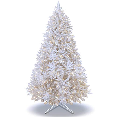 (BenefitUSA 6.5/7 /7.5ft Artificial Christmas Tree with LED Lights and Metal Stand Full Tree Xmas Holiday (White, 7.5ft with 750 Clear Lights and 2514 Tips))