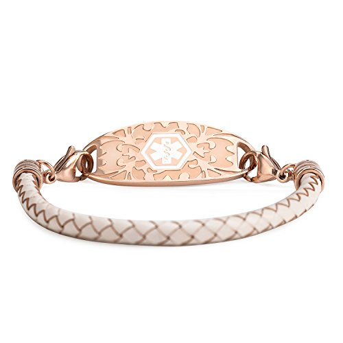 Braided Leather Gold - AMOZO JEWELRY (Free Engraving) Stainless Steel Plated Rose Gold with Braided Leather Medical Alert ID Bracelet 6inches