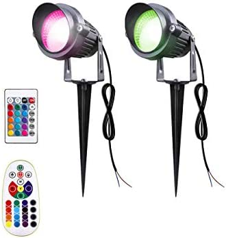 SUNRIVER Landscape Spotlights, 2 Pack Remote Control 6W RGB Color Changing Landscape Spotlights Lighting 12V 24V Low Voltage Waterproof Garden Pathway Lights for Outdoor Decor