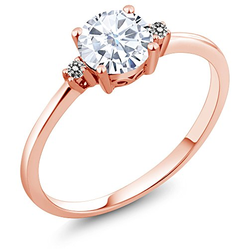 Vintage Diamond Solitaire (10K Rose Gold Engagement Solitaire Ring set with 0.71 Ct Round White Created Moissanite White Diamonds)