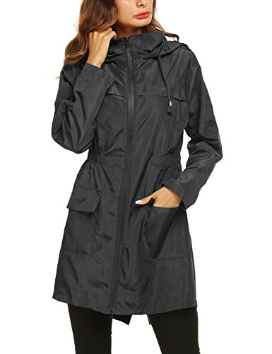 (Quick Dry Raincoat Women's Trench Coat Sport Jacket Waterproof Raincoats Lightweight Women Rain Jacket Black)