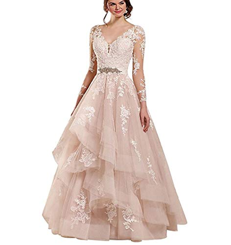 Rudina Women's Double V-Neck Lace Wedding Dress Long Sleeve Ruffles Applique Bridal Gown Blush,16