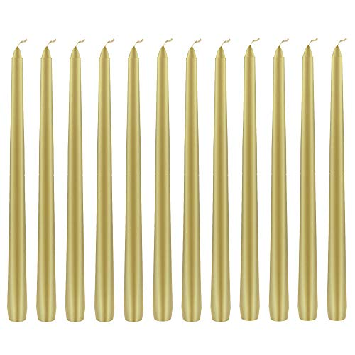 Mega Candles 12 pcs Unscented Gold Taper Candle, Hand Poured Wax Candles 12 Inch x 7/8 Inch, Home Décor, Wedding Receptions, Baby Showers, Birthdays, Celebrations, Party Favors & More
