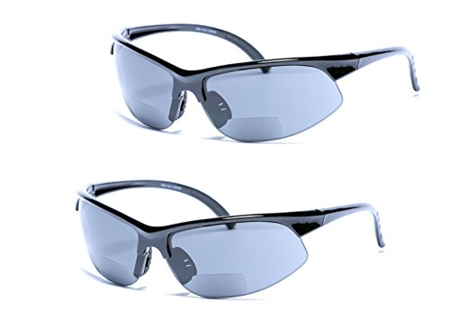 2 Pair of Mens Bifocal Sport Sunglasses - Outdoor Reading Sunglasses (Black, 2 - Sunglasses Bifocals With