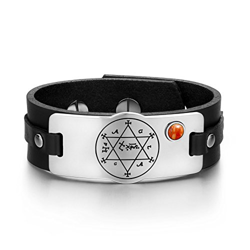 King of Solomon Circle of Pentacle Hexagram Amulet Red Jasper Gemstone Adjustable Black Leather Bracelet -