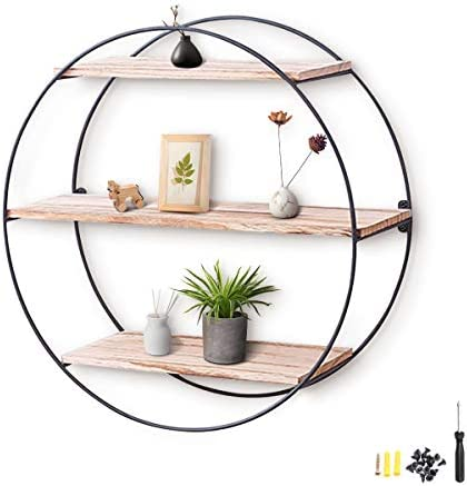 KINGSO Wall Shelf Rustic Wood Floating Shelves,Decorative Wall Shelf for Bedroom, Living Room, Bathroom, Kitchen, Office and More Round