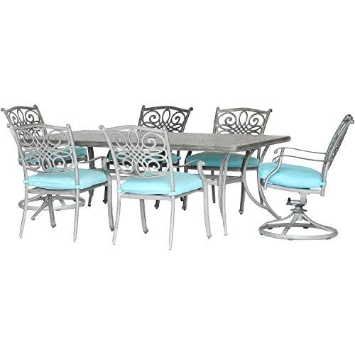 Wrought Rocker Scroll Iron - Patio Dining Set. 7 Piece Modern Outdoor Porch, Deck, Lawn, Pool, Garden, Balcony Diner, Conversation, Seating, Bistro, Chat Aluminum Furniture Kit With Fire Pit. Outside Round Table, Chairs, Cushions