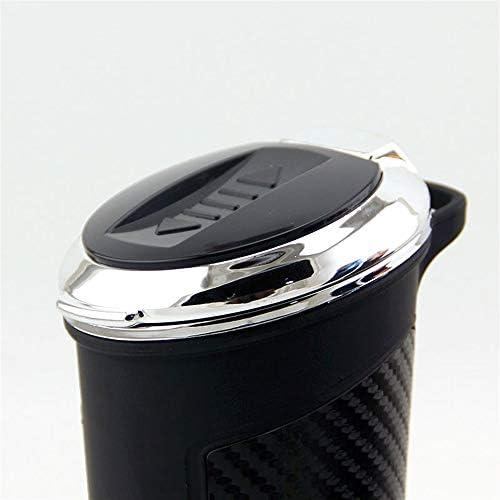 カバー/シガーライターLEDライトカー灰皿カップホルダー-57 * 128 mmが付いている携帯用管状の無煙車のタバコの灰のシリンダー (Color : Silver)