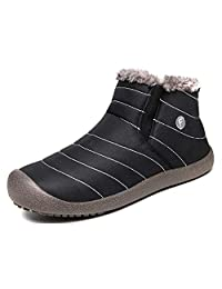 Weweya Slip-on Waterproof Snow Winter Boots for Men Slip Prevention Lightweight Ankle Bootie Complete Hair