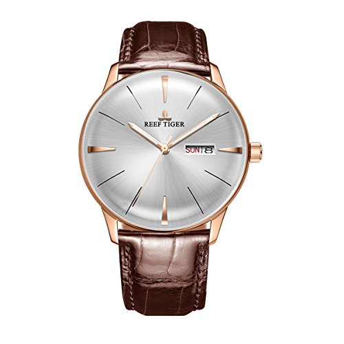 Reef Tiger Luxury Dress Watches Date Day Rose Gold Convex Lens Automatic Watches for Men RGA8238 (RGA8238-PWS)