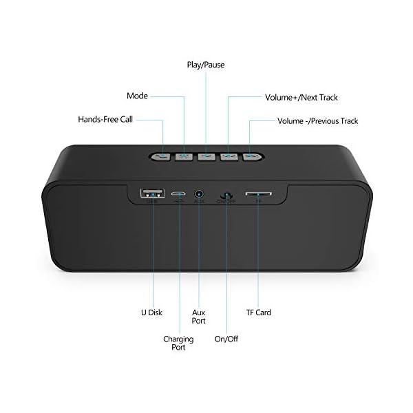 Enceinte Bluetooth 5.0 Portable, Axloie Macaron Haut-Parleur sans Fil HiFi Stéréo avec Microphone Mains Libres Entrée AUX/Clé USB/Carte TF 10 Heures Autonomie pour iOS Android Tablettes etc –Noir 4