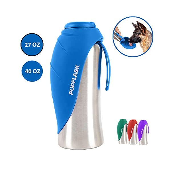 Tuff Pupper PupFlask Portable Water Bottle | 27 or 40 OZ Stainless Steel | Convenient Dog Travel Water Bottle Keeps Pup Hydrated | Portable Dog Water Bowl & Travel Water Bottle for Dogs 1