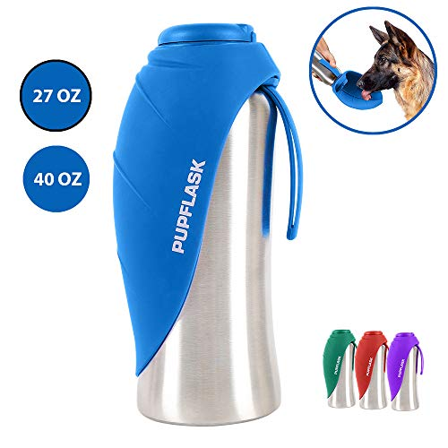 (PupFlask Portable Water Bottle | 27 or 40 OZ Stainless Steel | Convenient Dog Travel Water Bottle Keeps Pup Hydrated | Portable Dog Water Bowl & Travel Water Bottle For Dogs (27 Ounce, Nebulas Blue))