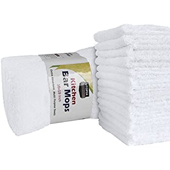 Utopia Towels Kitchen Bar Mop Cleaning Towels (12 Pack, 16 x 19 Inch) - Pure Cotton White Kitchen Towels, Restaurant Cleaning Towels, Shop Towels and Rags - Professional Grade